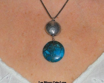 Blue stone necklace, blue pendant, blue agate necklace, boho chic necklace, summer necklace, blue gemstone jewelry, boho chic jewelry