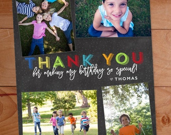 Thank You Photo Cards, Kids Birthday, Multiple Photos, Chalkboard, Boy thank you, Custom Photo Thank You Card, Birthday Thank You, Rainbow