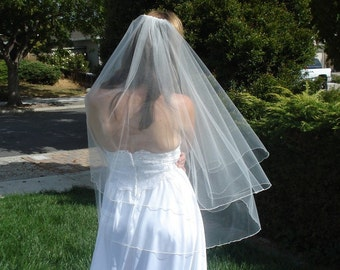 Finger Tip Length Two Tier Veil Circular Cut With Serged Pencil Edge in Ivory or White - READY TO SHIP in 3-5 Days