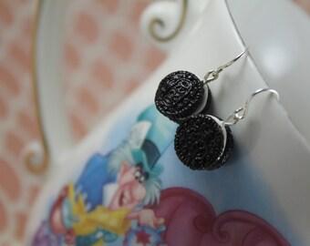Tiny Original Oreo Cookie Dangle Earrings/ Fake Food Dessert Food Flair/ Miniature Dollhouse Like Food Jewelry