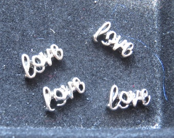 Script LOVE word in silver or gold Floating Charm