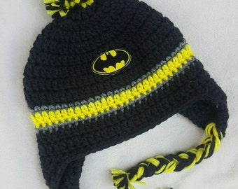 Batman inspired crocheted hat