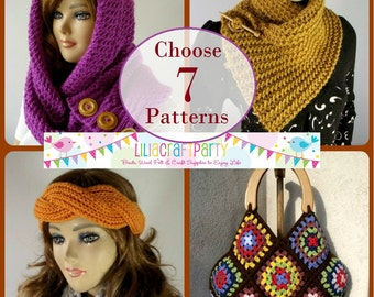 knitting and Crochet PATTERN DISCOUNT - CHOOSE 7 - Knitting & Crochet Patterns Your choice of 7 patterns Instant Download clear instructions