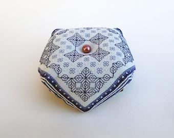 Oberon - Blackwork Biscornu pattern Deep Blue Cross stitch download