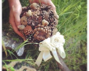 Bridal Bouquet Alternative Wedding Bouquets Pine Cone Rustic Bouquet
