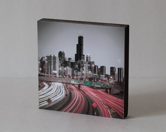 "4x6, 5x5, 5x7, 8x8 or 8x12"" WOOD PHOTO BLOCK- Chicago Skyline with highway view Art Print Mounted on Wood Block"