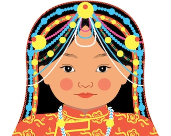 Tibetan Wall Art Print features culturally traditional dress drawn in a Russian matryoshka nesting doll shape