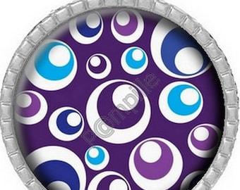 Round Cabochon pendant 25 mm epoxy resin - purple circles (914)