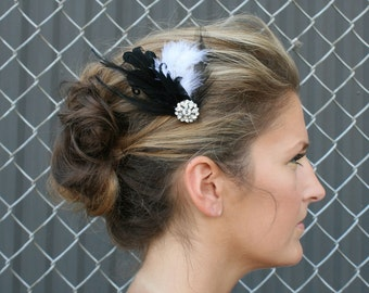 Rhinestone Feather Barrette Bridal Formal - Feathers with Crystal Accent