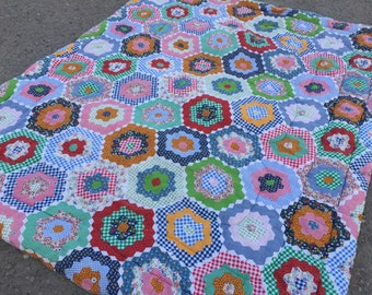 Vintage HOLLY HOBBIE style 60s Granny Square Snap Up Sleeping Bag- Camping- Retro RV