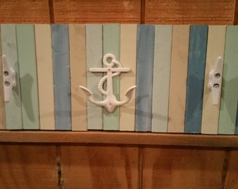 Beach Hooks / Nautical Hooks / Anchor and Boat Cleat Towel Rack / Island Decor / Nautical Clothes Rack / Tropical Decor / Beach House decor