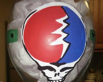 Grateful Dead Inspired Steal Your Face Hand Painted Wine Glass