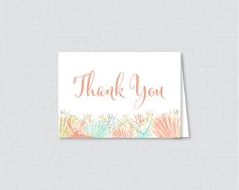 Printable Nautical Bridal Shower Thank You Card - Coral and Aqua Beach Themed Bridal Shower Thank You Card - Beach Bridal Shower 0012-C