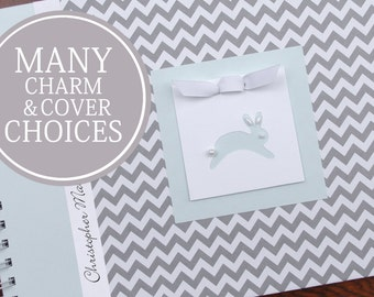 Baby Memory Book Boy | Baby Album Photo Book & Journal | Personalized | Baby's First Year Book | Gray Chevron + Blue with Bunny Charm