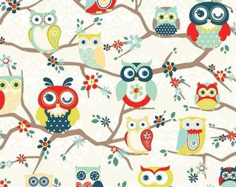 Nested Owls Mint - Perched Owls Mint Fabric from AdornIt - 1 Yard