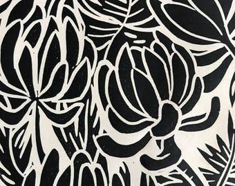 "Original Linocut Block print, ""Succulents"" made by Robyn Denny"