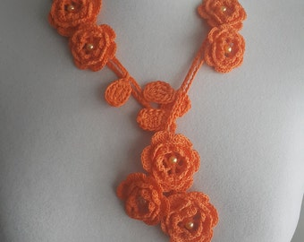 Crochet Rose Necklace,Crochet Neck Accessory, Flower Necklace, Orange, 100% Cotton.
