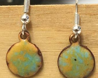 """Earrings in enamel """"lichen"""""""