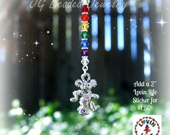 Dancing Bear Grateful Dead Rearview Mirror Car Charm, Dead and Company, Deadhead Decoration, Rainbow Swarovski Crystals