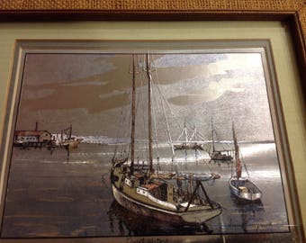 "Lionel Barrymore gold foil etching titled ""Quiet Waters"""