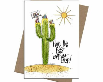 Southwest Saguaro Cactus Cake | Birthday Card