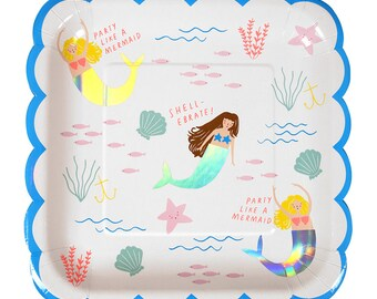 Meri Meri Mermaid plates scallop border set of 8