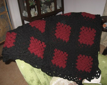 """Beautiful Large Garnet & Black Crocheted Afghan with Granny Square Pattern - 83"""" x 83"""" Handmade - Perfect for Univ. of South Carolina Fans!!"""
