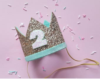 Birthday Crown || Mint and Gold Birthday || Mint and Gold Theme || Gold Crown || Birthday Girl || 2nd Birthday || 2 Crown || Birthday Girl