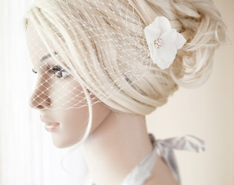 Ivory Birdcage Veil Bridal Blusher Bandeau French Netting with delicate flowers and golden or silver  rhinestones