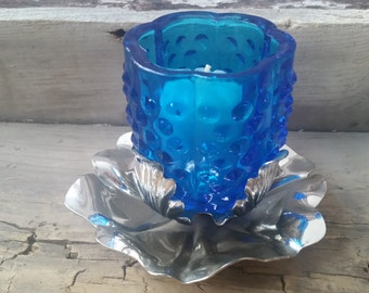 Silver and blue glass candle or votive holder, vintage silver votive holder, hobnail blue glass