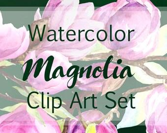 Watercolor Magnolia Clip Art Set - Bonus  Border + Wrreath