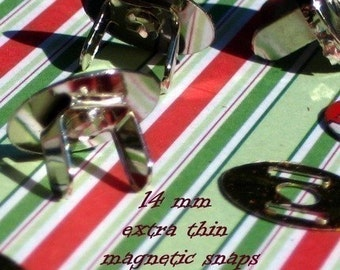 5 Sets 14 mm Magnetic Snap Closures - 2mm extra thin  (available in nickel and antique brass finish)