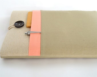 """Chromebook Case 11"""", 13"""", 15"""" Acer, Asus, HP Chromebook, HP Stream 11, 14, Spectre x360 Custom Fit Padded with Pocket - Linen and Peach"""