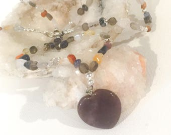 Multi Gemstone Heart Necklace