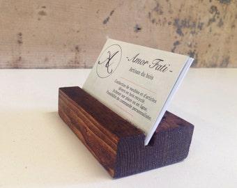 Wooden Business Card Holder. Wood Business Card Stand. Wooden Card Holder. reclaimed wood Card Stand.