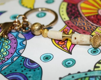 Bone and Gold beaded keychain