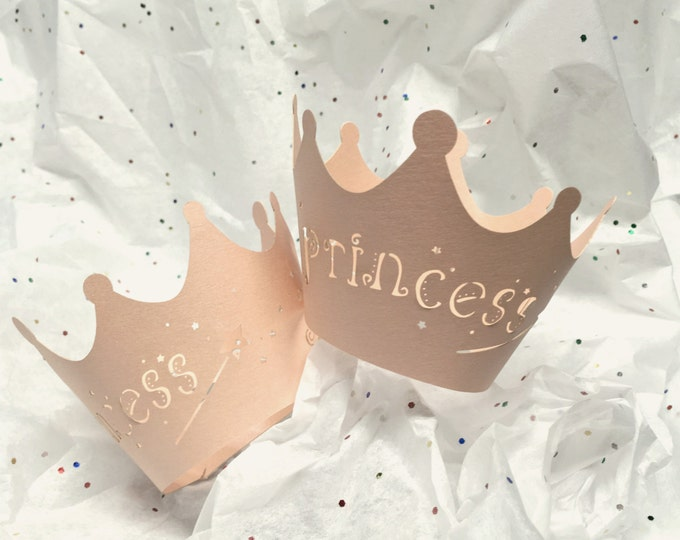 Pink Crown Cupcake Wrapper, Princess, Pearlized, Lazer  Cut, Prince, Baby Shower, Fairytale Party, Eco Friendly