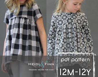 NEW Avondale tunic PDF pattern and tutorial 12m-12y  tunic dress jumper blouse