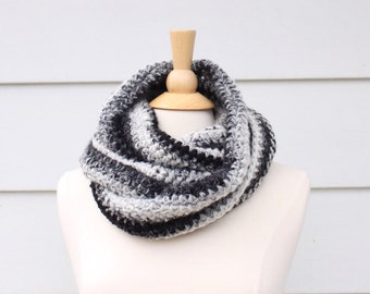crochet infinity scarf, extra long scarf, black and gray scarf, crochet endless scarf, women's winter scarf, crochet cowl scarf