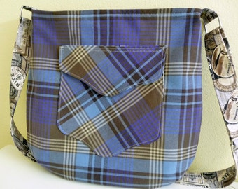 Blue Plaid Large Crossbody Tote Bag Purse
