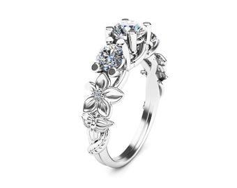 Three Stone Moissanite Engagement Ring 14K White Gold Moissanite Ring Flower Engagement Ring