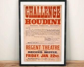 Challenge Harry Houdini Magic Magician Vintage Art Poster