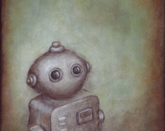 """Robot art - giclee print of robot painting """"Stanley"""" by Kris G. Brownlee, wall art poster"""