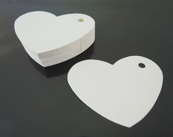 White Paper Tags - 50pcs White Tags Heart Round Tag Price Tags Hang Tags Gift Tags White Tag Plain Tags with Hole 6.5cm x 6cm