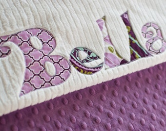 Monogrammed Baby Blanket in TWILIGHT, Lilac or Purple Dot Minky and White Chenille, Personalized with Your Baby Girl's First Name in Purples