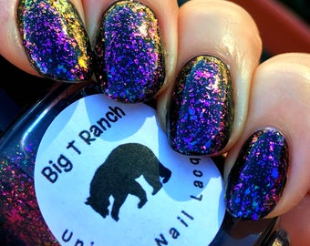 Multichrome Flakie Topcoat - When in Rome - Multi-Color Shifting Polish:Custom-Blended Glitter Nail Polish/Indie Lacquer