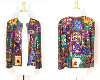 Rare 80's Sequin Jacket / Nordstrom Multicolored Sequined Blazer / Avant Garde Evening Dress Top