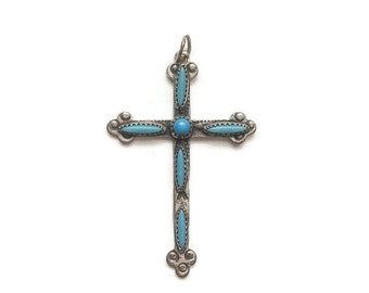 Vintage Sterling and Turquoise Cross Pendant, handmade and petite, beautifully detailed