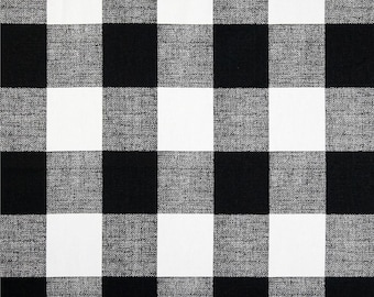 SHIPS SAME DAY Gingham Anderson Check Black White Fabric, Buffalo Check Black, Plaid Home Decor Fabric, Premier Prints Fabric - by the yard