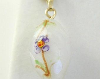 Murano Glass Drop Pendant Floral Design Vintage 9CT Gold 7.9 Grams